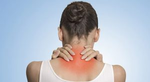 pain base of neck touched